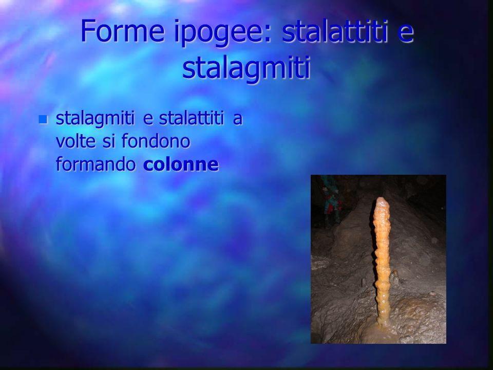 stalagmiti e stalattiti a volte si fondono formando colonne stalagmiti e stalattiti a volte si fondono formando colonne Forme ipogee: stalattiti e sta