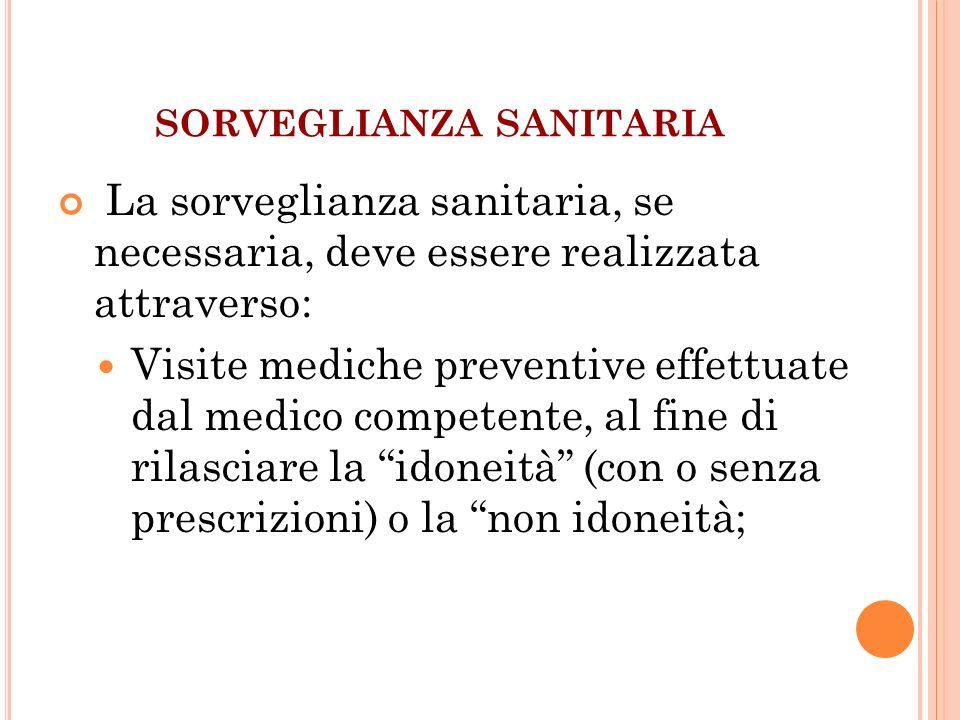 SORVEGLIANZA SANITARIA La sorveglianza sanitaria, se necessaria, deve essere realizzata attraverso: Visite mediche preventive effettuate dal medico co