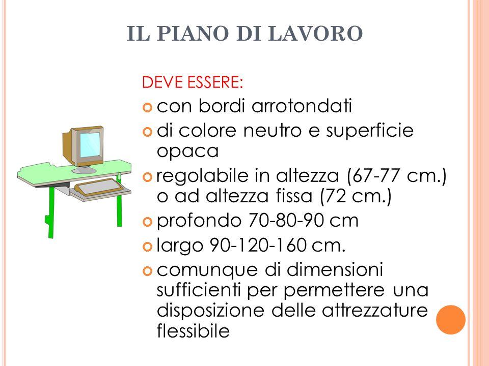 IL PIANO DI LAVORO DEVE ESSERE: con bordi arrotondati di colore neutro e superficie opaca regolabile in altezza (67-77 cm.) o ad altezza fissa (72 cm.