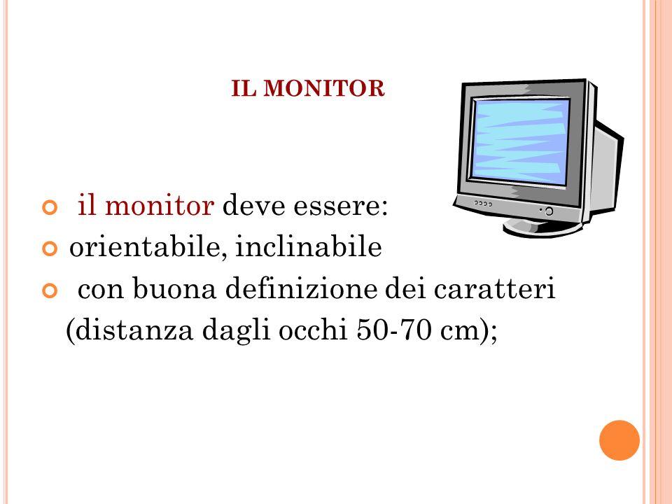 IL MONITOR il monitor deve essere: orientabile, inclinabile con buona definizione dei caratteri (distanza dagli occhi 50-70 cm);