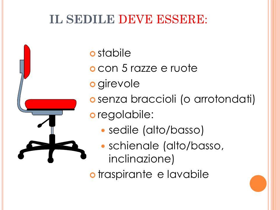 IL SEDILE DEVE ESSERE: stabile con 5 razze e ruote girevole senza braccioli (o arrotondati) regolabile: sedile (alto/basso) schienale (alto/basso, inc