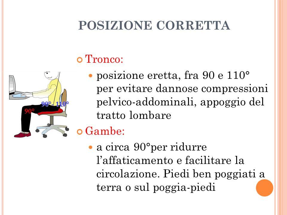 POSIZIONE CORRETTA Tronco: posizione eretta, fra 90 e 110° per evitare dannose compressioni pelvico-addominali, appoggio del tratto lombare Gambe: a c