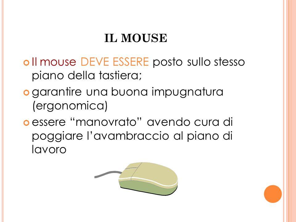 IL MOUSE Il mouse DEVE ESSERE posto sullo stesso piano della tastiera; garantire una buona impugnatura (ergonomica) essere manovrato avendo cura di po