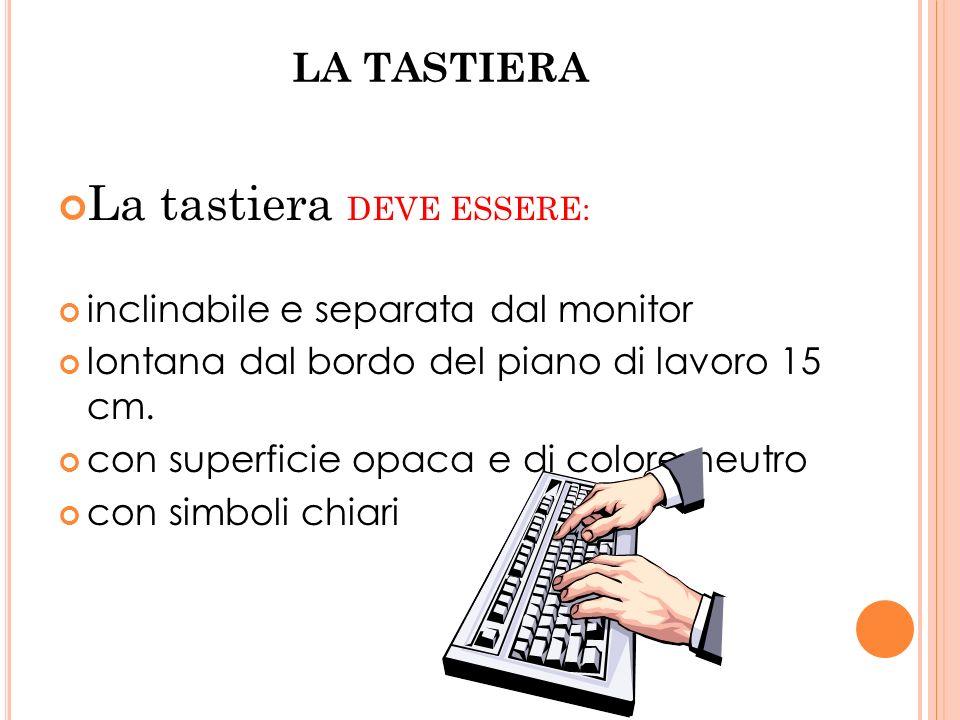 LA TASTIERA La tastiera DEVE ESSERE: inclinabile e separata dal monitor lontana dal bordo del piano di lavoro 15 cm. con superficie opaca e di colore