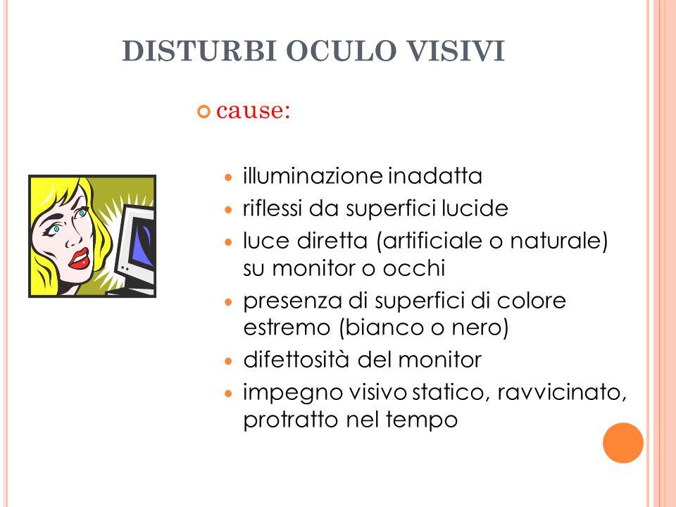 DISTURBI OCULO VISIVI cause: illuminazione inadatta riflessi da superfici lucide luce diretta (artificiale o naturale) su monitor o occhi presenza di