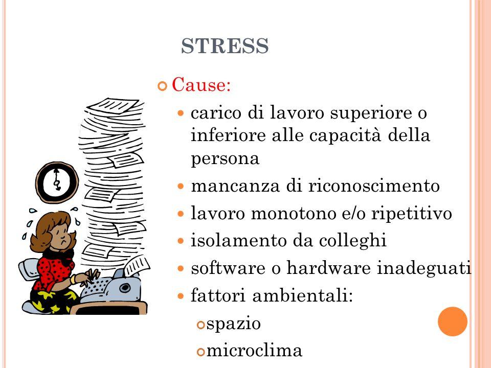 STRESS Cause: carico di lavoro superiore o inferiore alle capacità della persona mancanza di riconoscimento lavoro monotono e/o ripetitivo isolamento