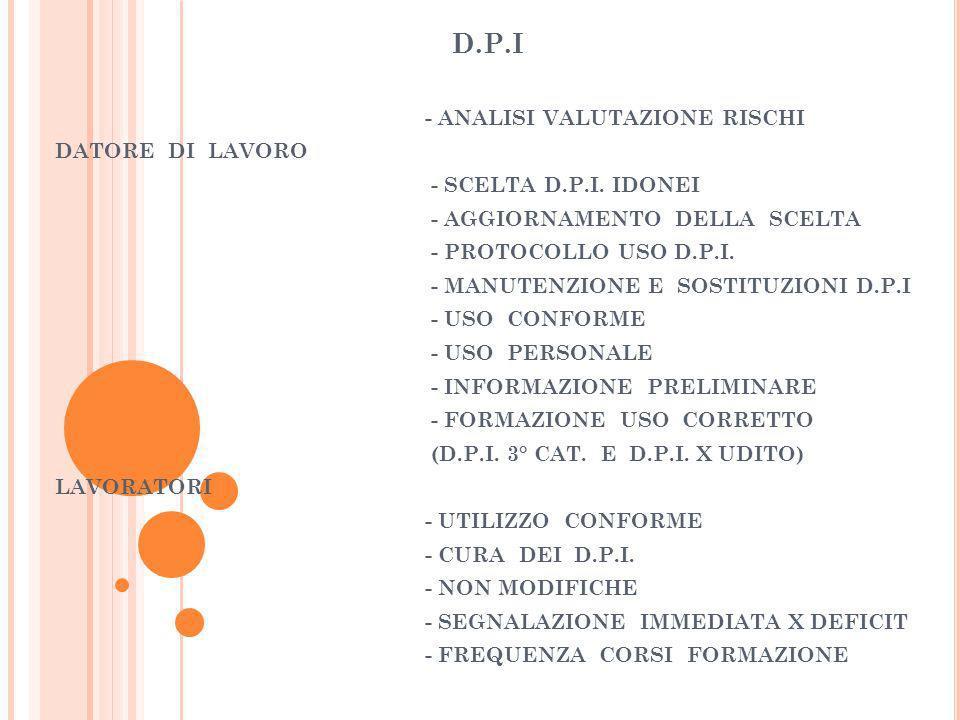 D.P.I - ANALISI VALUTAZIONE RISCHI DATORE DI LAVORO - SCELTA D.P.I. IDONEI - AGGIORNAMENTO DELLA SCELTA - PROTOCOLLO USO D.P.I. - MANUTENZIONE E SOSTI