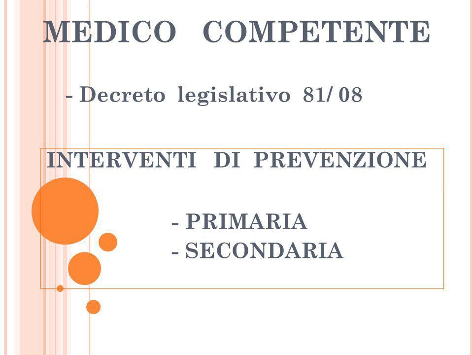 MEDICO COMPETENTE - Decreto legislativo 81/ 08 INTERVENTI DI PREVENZIONE - PRIMARIA - SECONDARIA