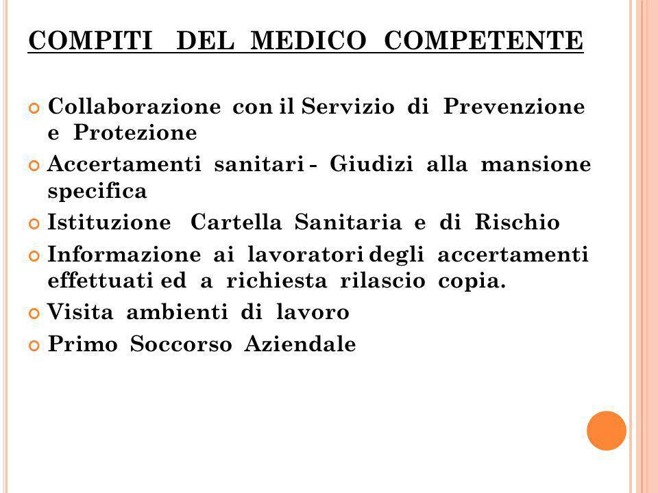 COMPITI DEL MEDICO COMPETENTE Collaborazione con il Servizio di Prevenzione e Protezione Accertamenti sanitari - Giudizi alla mansione specifica Istit
