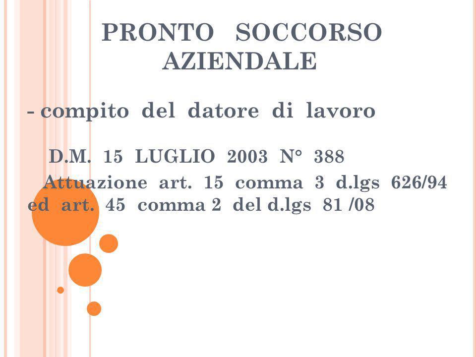PRONTO SOCCORSO AZIENDALE - compito del datore di lavoro D.M. 15 LUGLIO 2003 N° 388 Attuazione art. 15 comma 3 d.lgs 626/94 ed art. 45 comma 2 del d.l