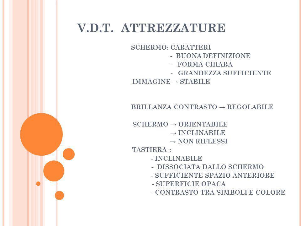V.D.T. ATTREZZATURE SCHERMO: CARATTERI - BUONA DEFINIZIONE - FORMA CHIARA - GRANDEZZA SUFFICIENTE IMMAGINE STABILE BRILLANZA CONTRASTO REGOLABILE SCHE