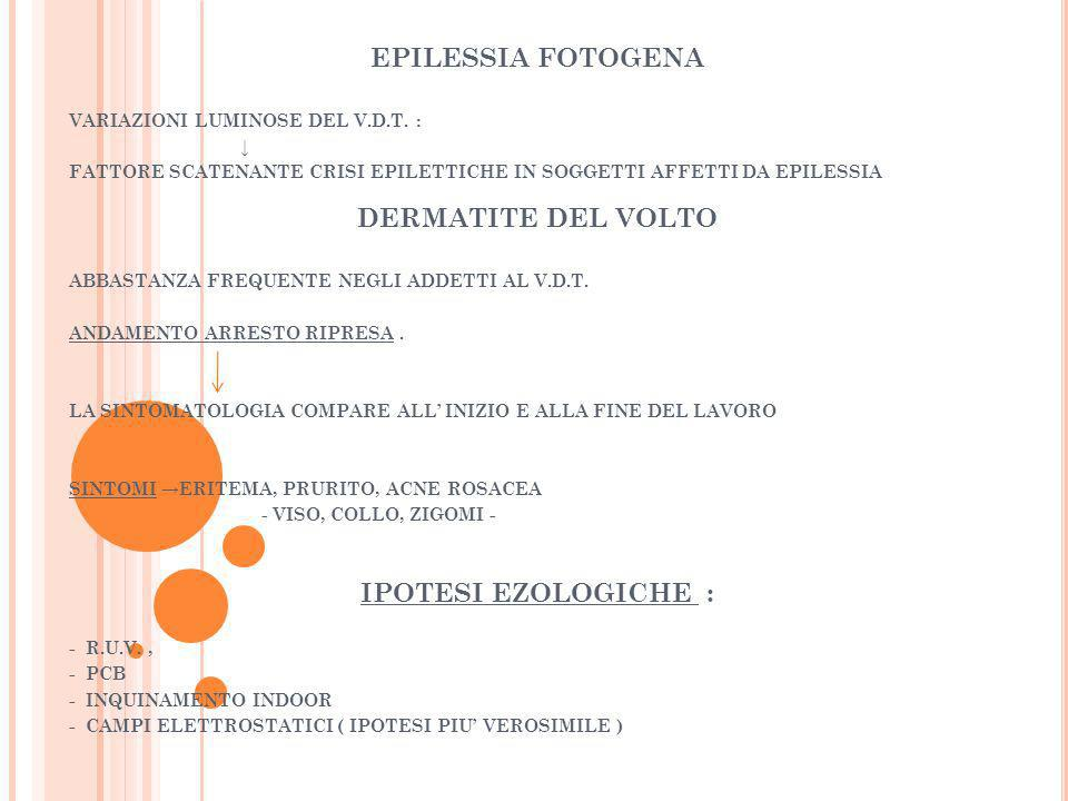 EPILESSIA FOTOGENA VARIAZIONI LUMINOSE DEL V.D.T. : FATTORE SCATENANTE CRISI EPILETTICHE IN SOGGETTI AFFETTI DA EPILESSIA DERMATITE DEL VOLTO ABBASTAN