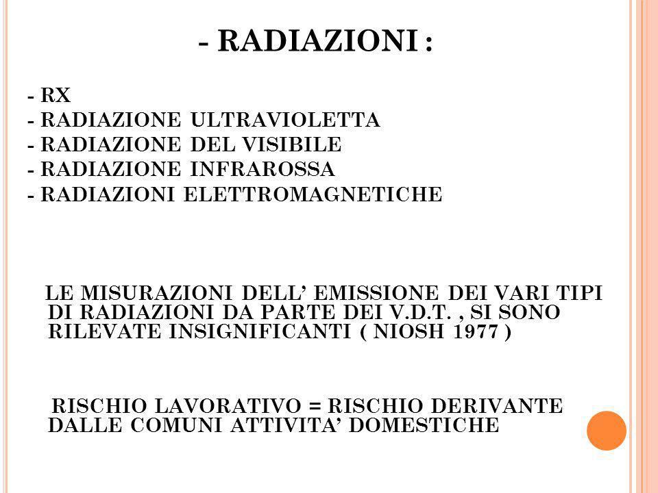 - RADIAZIONI : - RX - RADIAZIONE ULTRAVIOLETTA - RADIAZIONE DEL VISIBILE - RADIAZIONE INFRAROSSA - RADIAZIONI ELETTROMAGNETICHE LE MISURAZIONI DELL EM