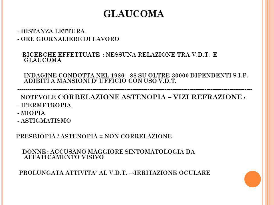 GLAUCOMA - DISTANZA LETTURA - ORE GIORNALIERE DI LAVORO RICERCHE EFFETTUATE : NESSUNA RELAZIONE TRA V.D.T. E GLAUCOMA INDAGINE CONDOTTA NEL 1986 – 88