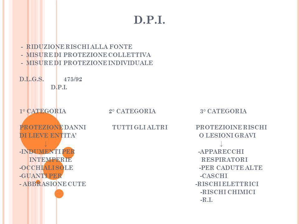 D.P.I. - RIDUZIONE RISCHI ALLA FONTE - MISURE DI PROTEZIONE COLLETTIVA - MISURE DI PROTEZIONE INDIVIDUALE D.L.G.S. 475/92 D.P.I. 1° CATEGORIA 2° CATEG