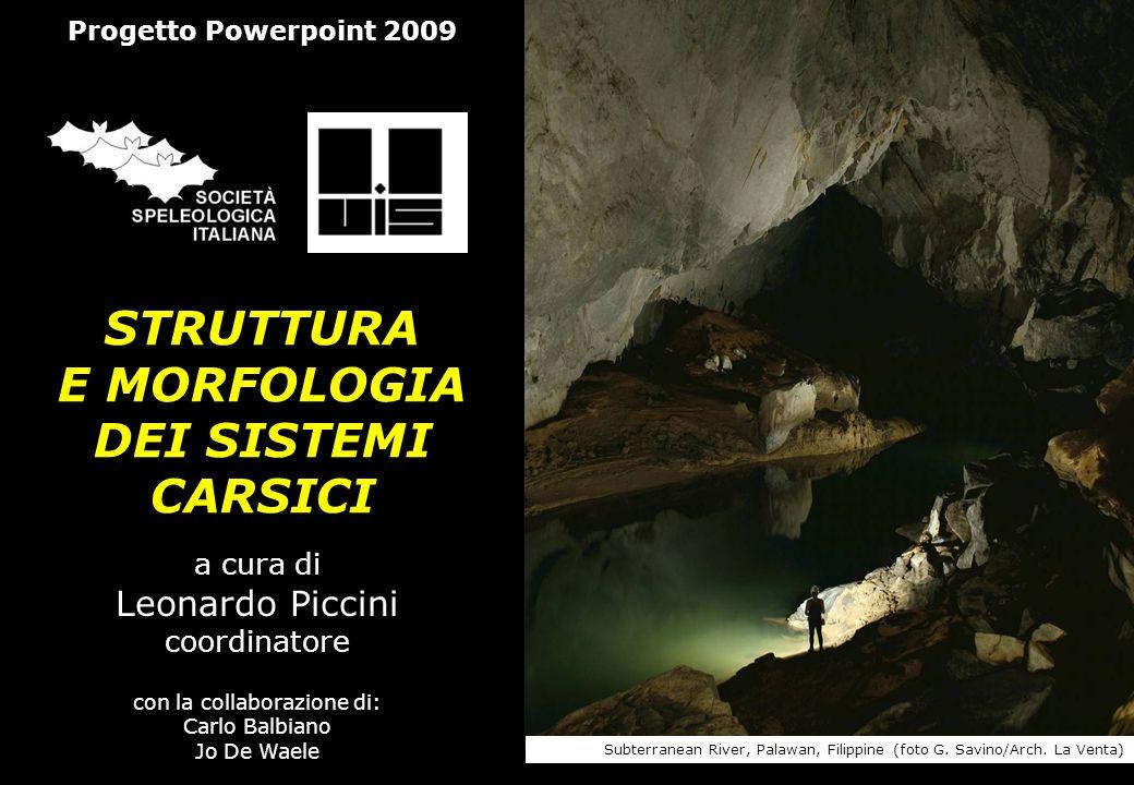 STRUTTURA E MORFOLOGIA DEI SISTEMI CARSICI a cura di Leonardo Piccini coordinatore con la collaborazione di: Carlo Balbiano Jo De Waele Progetto Power