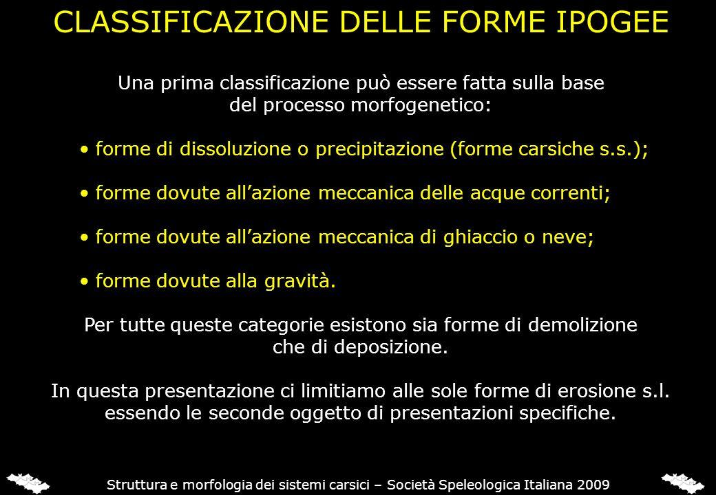 CLASSIFICAZIONE DELLE FORME IPOGEE Struttura e morfologia dei sistemi carsici – Società Speleologica Italiana 2009 Una prima classificazione può esser