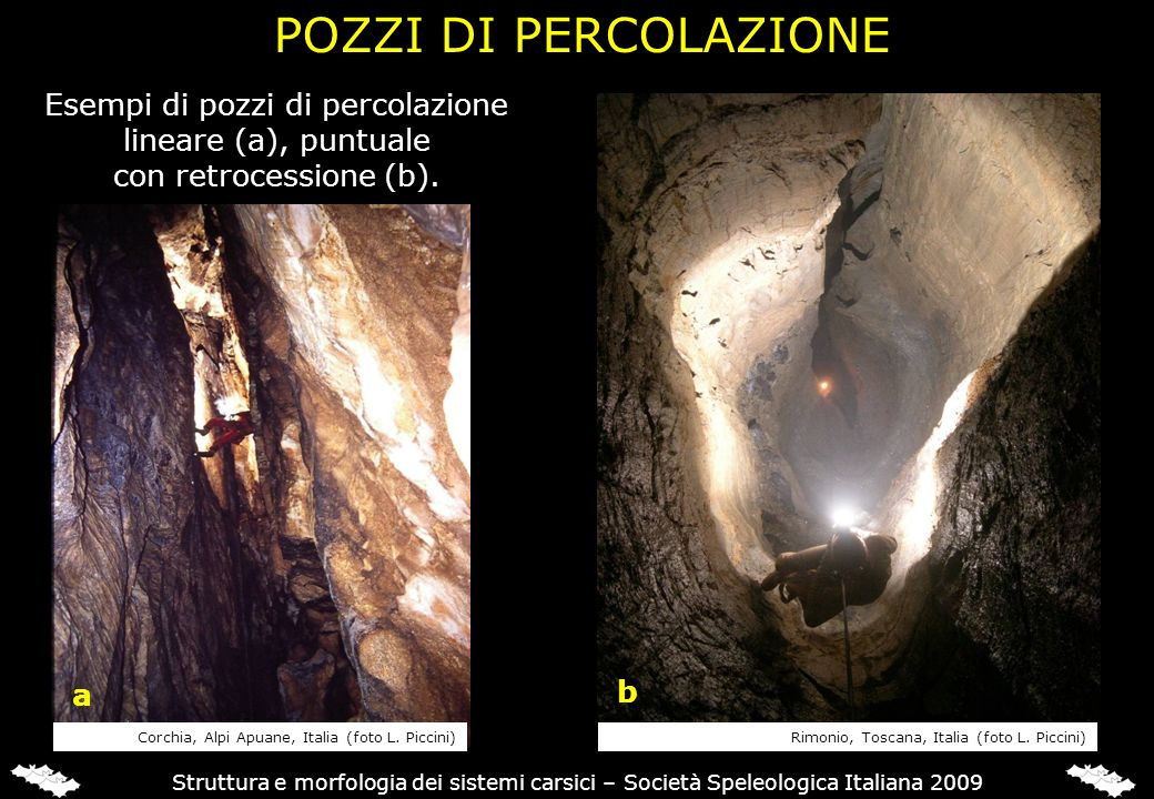 Struttura e morfologia dei sistemi carsici – Società Speleologica Italiana 2009 Esempi di pozzi di percolazione lineare (a), puntuale con retrocession