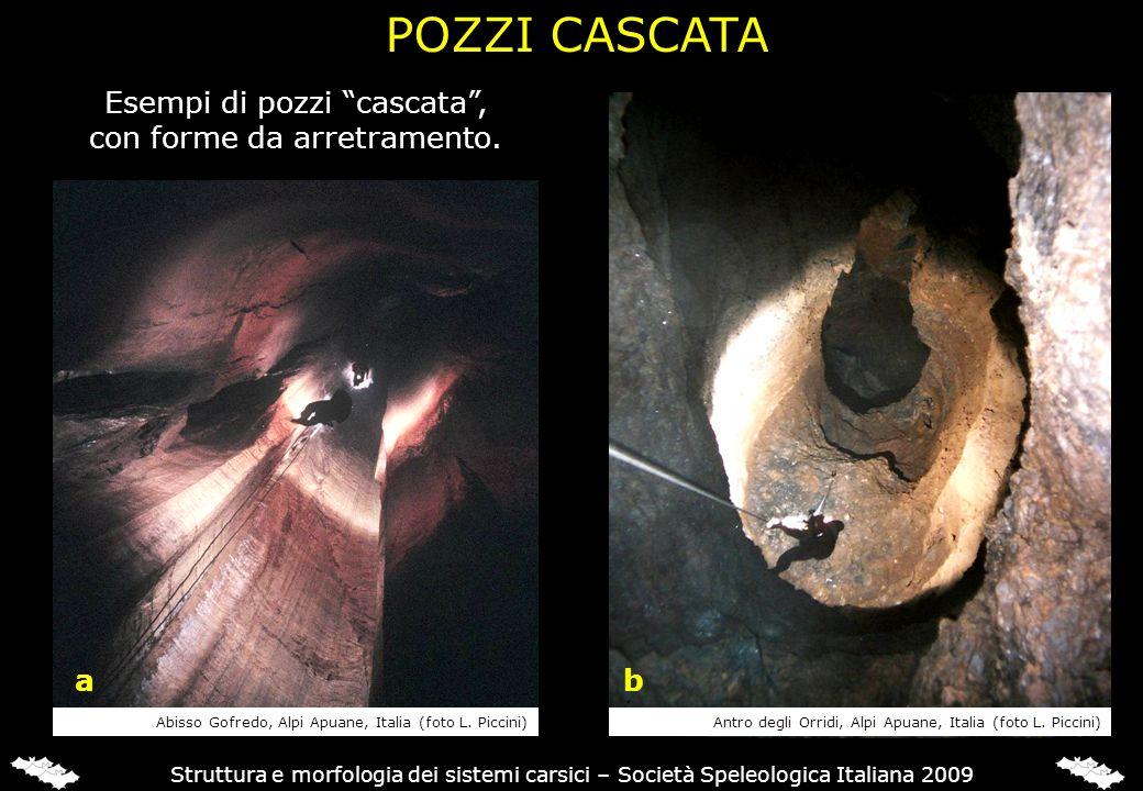 Struttura e morfologia dei sistemi carsici – Società Speleologica Italiana 2009 Esempi di pozzi cascata, con forme da arretramento. POZZI CASCATA ab A
