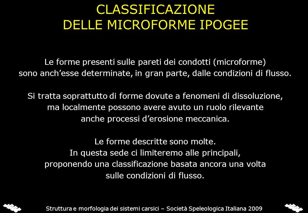 CLASSIFICAZIONE DELLE MICROFORME IPOGEE Struttura e morfologia dei sistemi carsici – Società Speleologica Italiana 2009 Le forme presenti sulle pareti