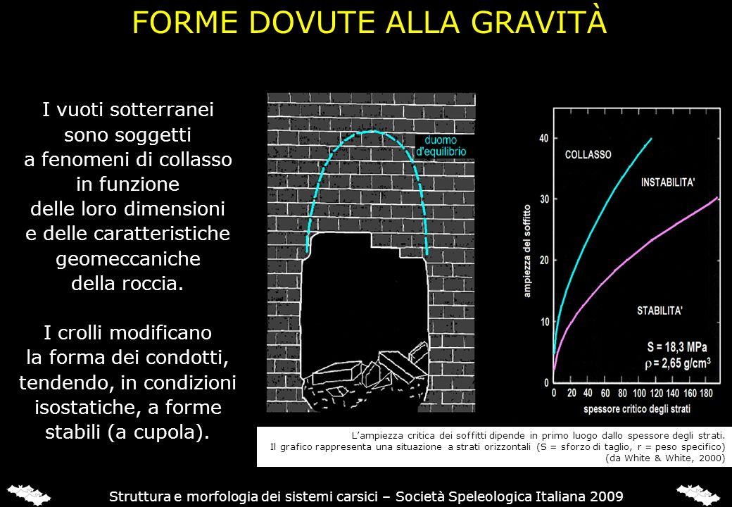 FORME DOVUTE ALLA GRAVITÀ Struttura e morfologia dei sistemi carsici – Società Speleologica Italiana 2009 I vuoti sotterranei sono soggetti a fenomeni