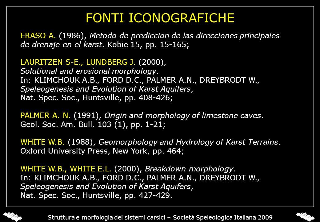 FONTI ICONOGRAFICHE ERASO A. (1986), Metodo de prediccion de las direcciones principales de drenaje en el karst. Kobie 15, pp. 15-165; LAURITZEN S-E.,