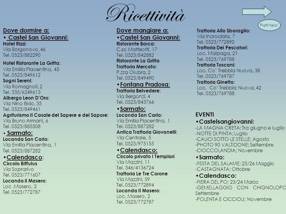 Ricettività Dove dormire a: Castel San Giovanni: Hotel Rizzi: Via Borgonovo, 46 Tel. 0523/882290 Hotel Ristorante La Gritta: Via Emilia Piacentina, 45