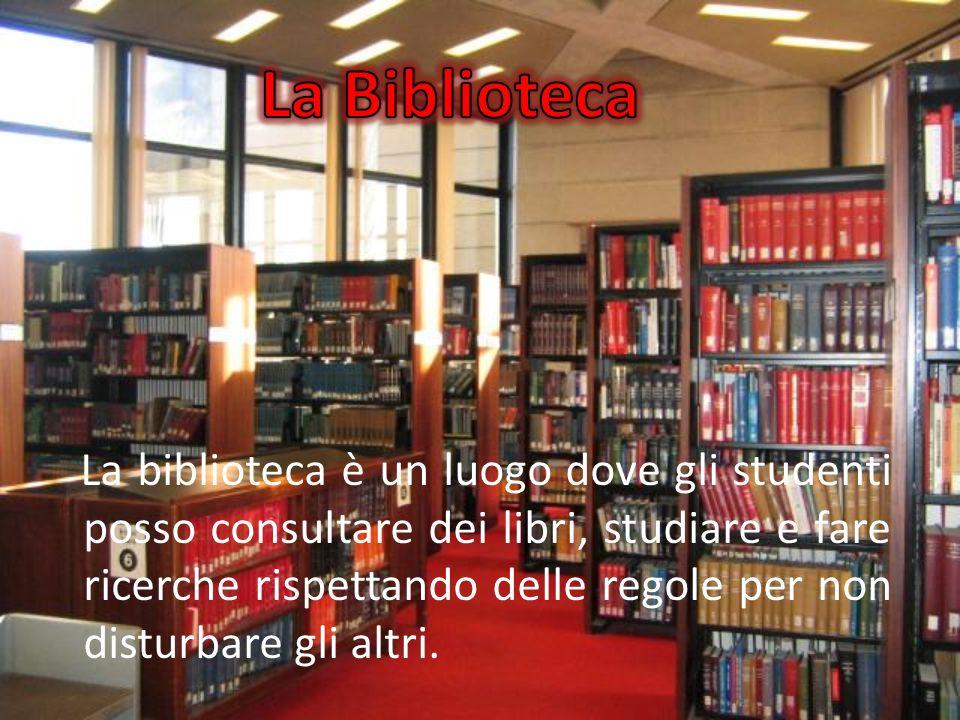 La biblioteca è un luogo dove gli studenti posso consultare dei libri, studiare e fare ricerche rispettando delle regole per non disturbare gli altri.
