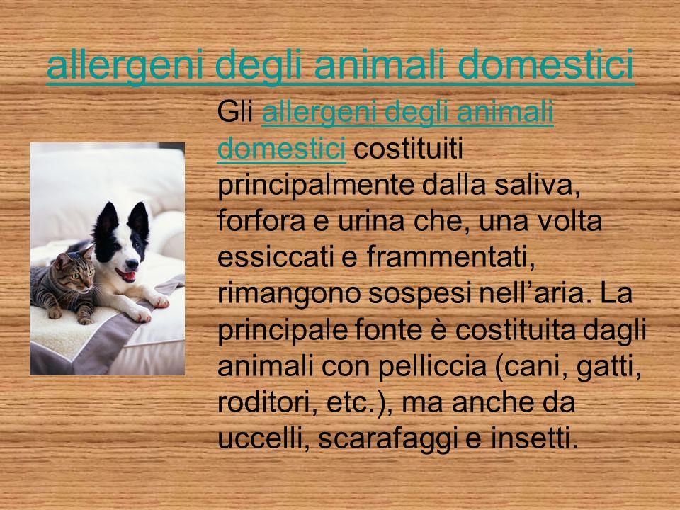 allergeni degli animali domestici Gli allergeni degli animali domestici costituiti principalmente dalla saliva, forfora e urina che, una volta essicca