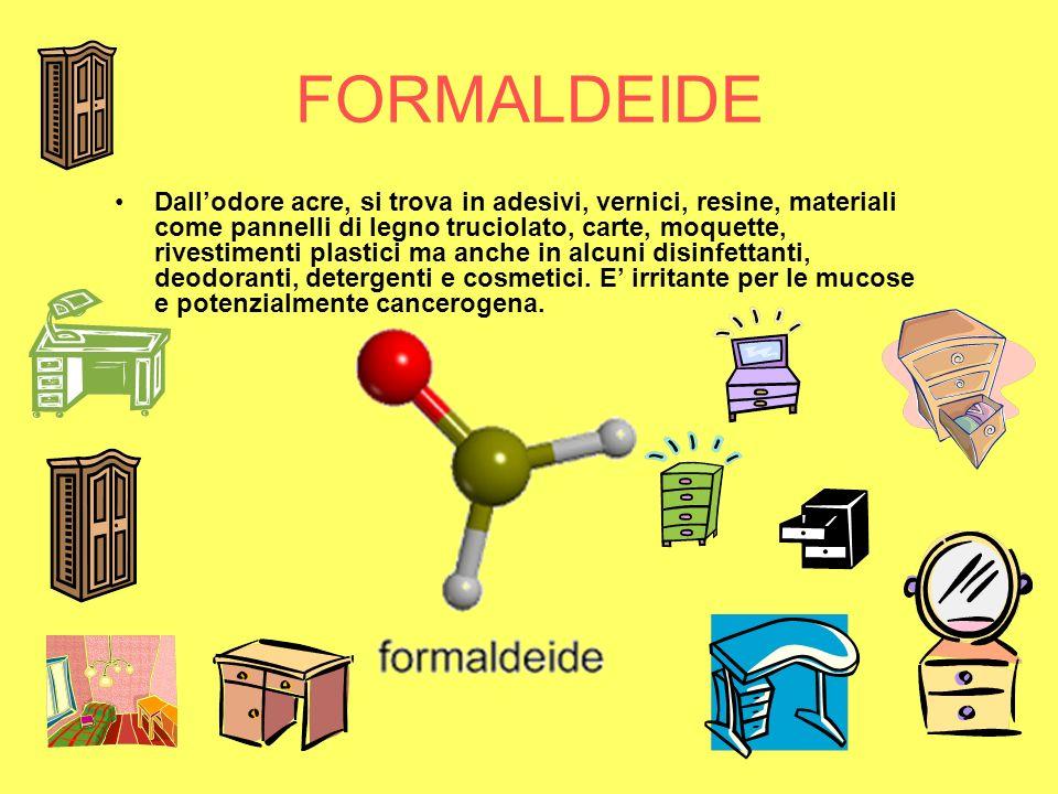 FORMALDEIDE Dallodore acre, si trova in adesivi, vernici, resine, materiali come pannelli di legno truciolato, carte, moquette, rivestimenti plastici