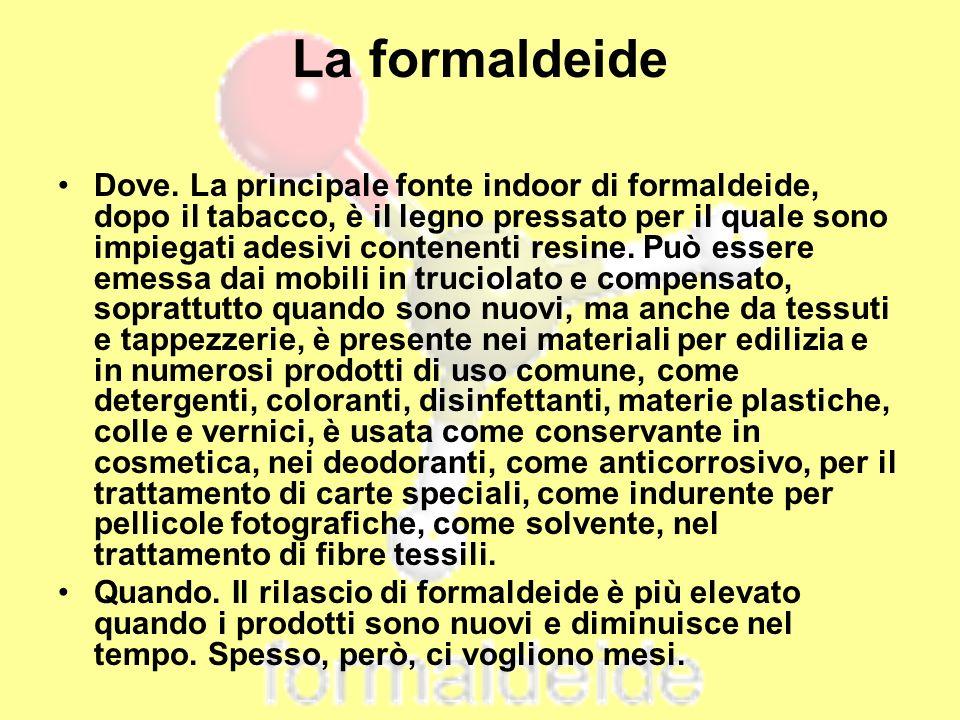 La formaldeide Dove. La principale fonte indoor di formaldeide, dopo il tabacco, è il legno pressato per il quale sono impiegati adesivi contenenti re