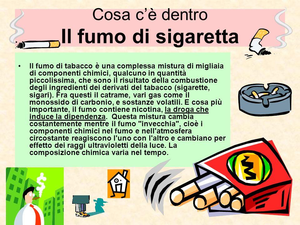 Il fumo di tabacco è una complessa mistura di migliaia di componenti chimici, qualcuno in quantità piccolissima, che sono il risultato della combustio