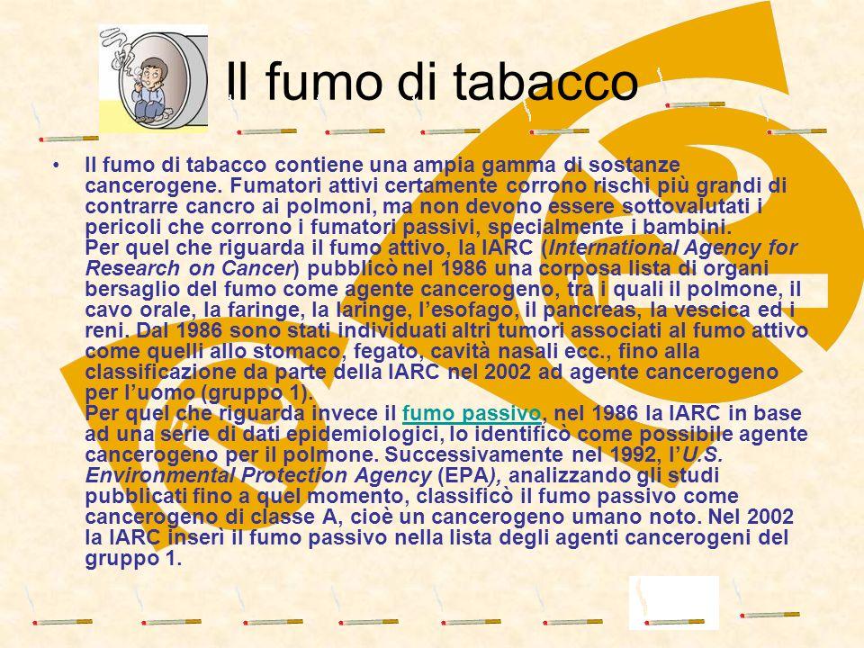 Il fumo di tabacco contiene una ampia gamma di sostanze cancerogene. Fumatori attivi certamente corrono rischi più grandi di contrarre cancro ai polmo