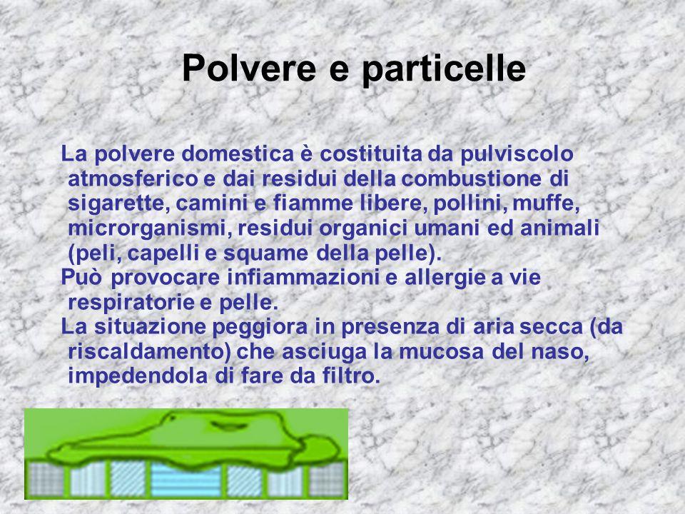 Polvere e particelle La polvere domestica è costituita da pulviscolo atmosferico e dai residui della combustione di sigarette, camini e fiamme libere,