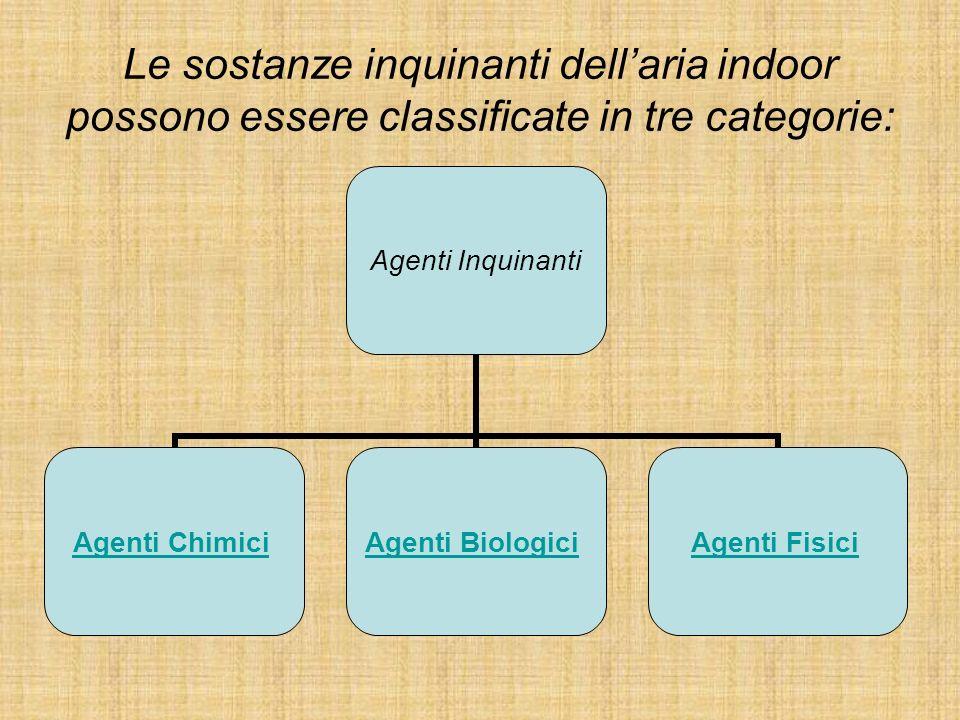 Le sostanze inquinanti dellaria indoor possono essere classificate in tre categorie: Agenti Inquinanti Agenti Chimici Agenti Biologici Agenti Fisici