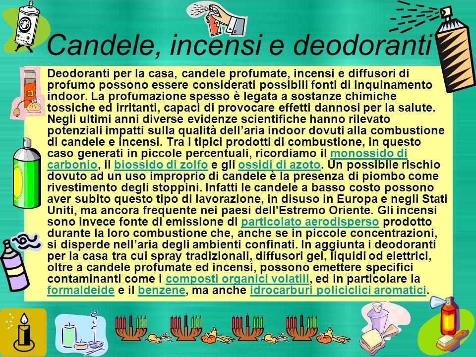 Candele, incensi e deodoranti Deodoranti per la casa, candele profumate, incensi e diffusori di profumo possono essere considerati possibili fonti di