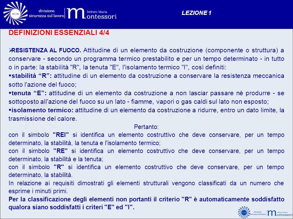 DEFINIZIONI ESSENZIALI 4/4 RESISTENZA AL FUOCO. Attitudine di un elemento da costruzione (componente o struttura) a conservare - secondo un programma
