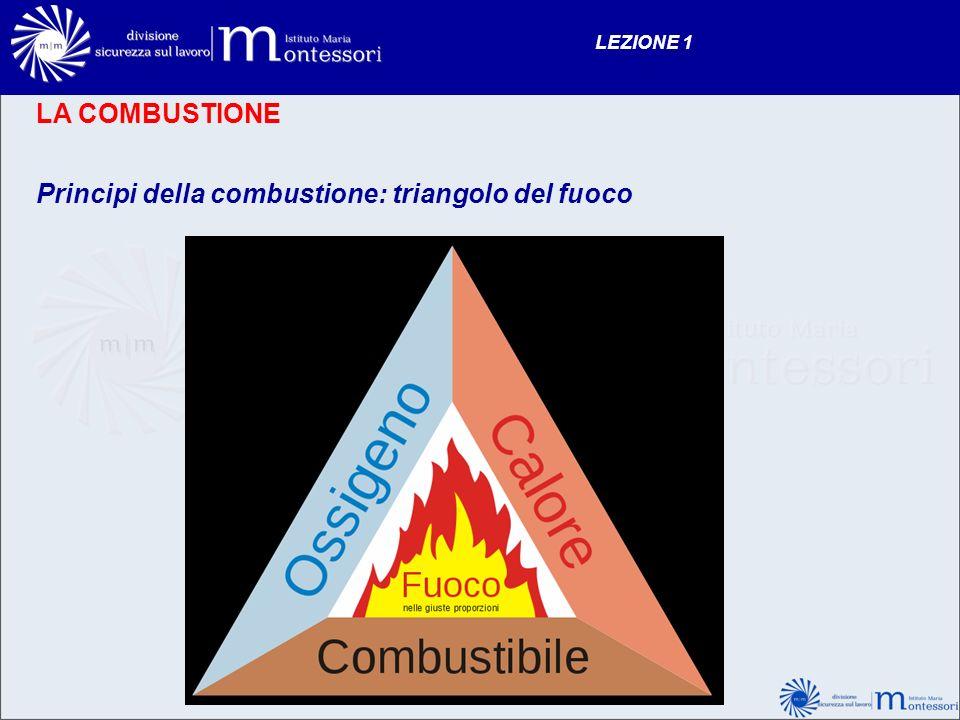 LA COMBUSTIONE Principi della combustione: triangolo del fuoco LEZIONE 1