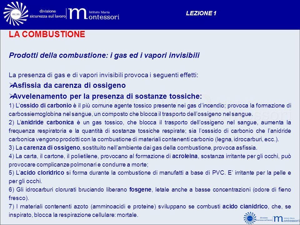 LA COMBUSTIONE Prodotti della combustione: i gas ed i vapori invisibili La presenza di gas e di vapori invisibili provoca i seguenti effetti: Asfissia