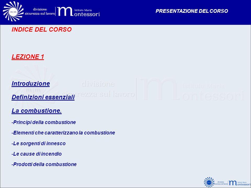 INDICE DEL CORSO LEZIONE 1 Introduzione Definizioni essenziali La combustione. -Principi della combustione -Elementi che caratterizzano la combustione