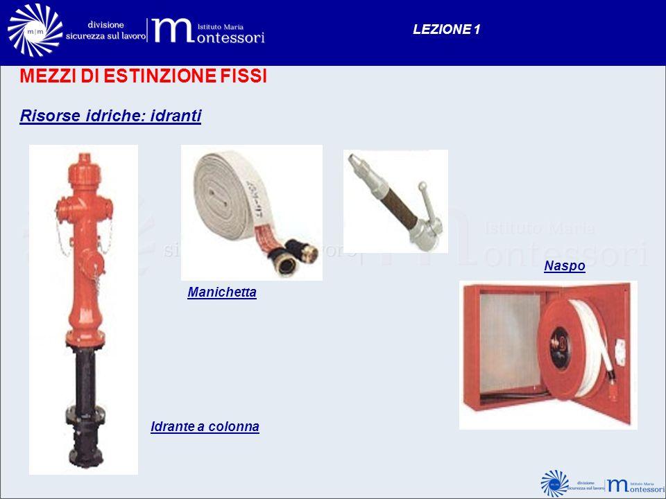 MEZZI DI ESTINZIONE FISSI Risorse idriche: idranti LEZIONE 1 Idrante a colonna Naspo Manichetta