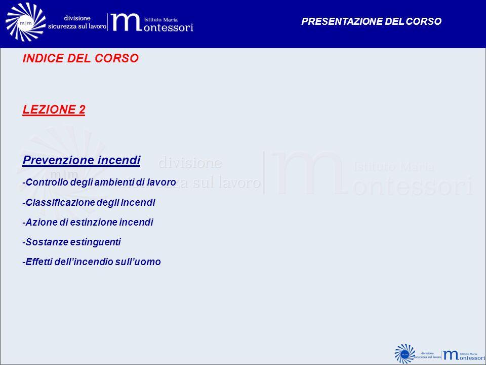 INDICE DEL CORSO LEZIONE 2 Prevenzione incendi -Controllo degli ambienti di lavoro -Classificazione degli incendi -Azione di estinzione incendi -Sosta