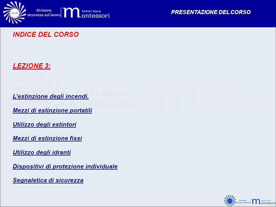 INDICE DEL CORSO LEZIONE 3: Lestinzione degli incendi. Mezzi di estinzione portatili Utilizzo degli estintori Mezzi di estinzione fissi Utilizzo degli
