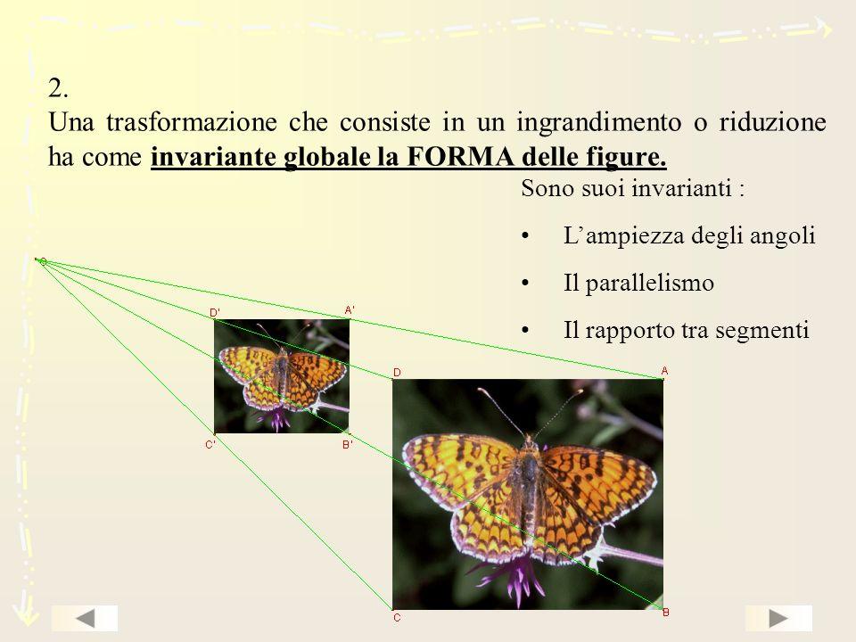 2. Una trasformazione che consiste in un ingrandimento o riduzione ha come invariante globale la FORMA delle figure. Sono suoi invarianti : Lampiezza