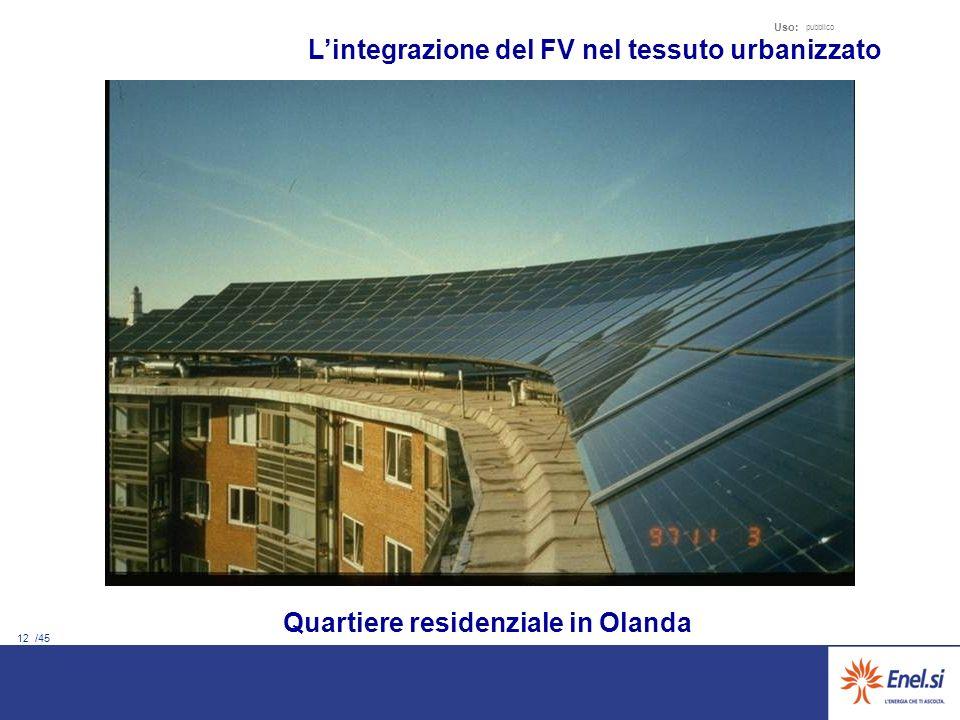 12 /45 Uso: pubblico Quartiere residenziale in Olanda Lintegrazione del FV nel tessuto urbanizzato