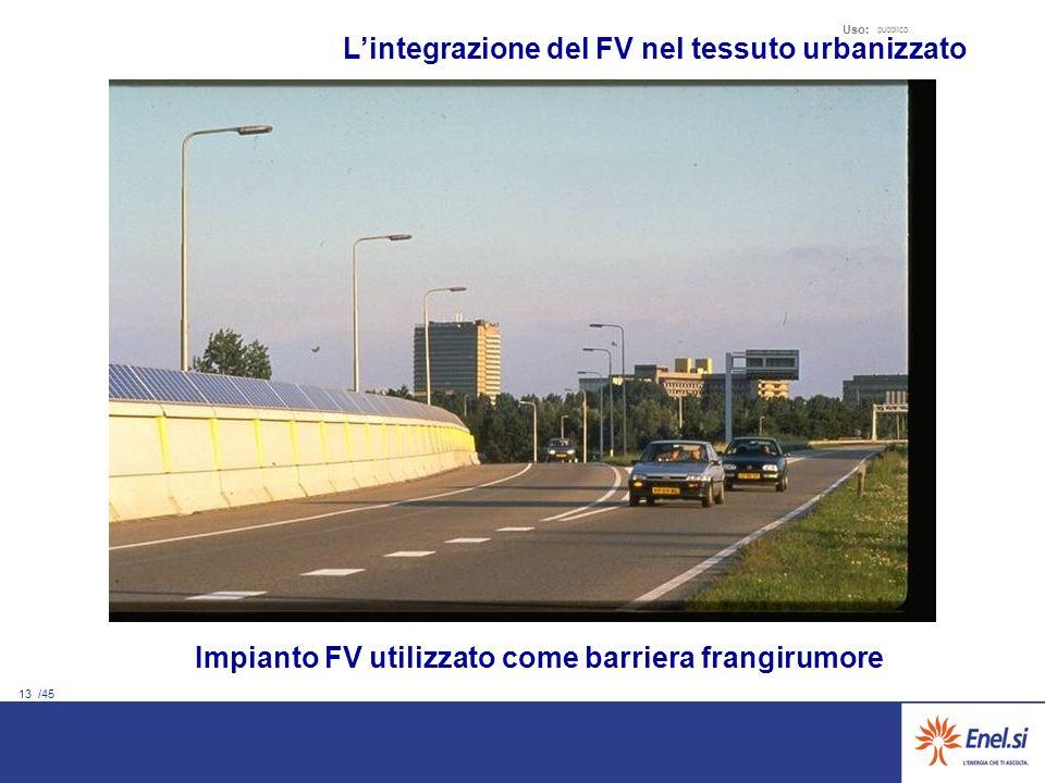 13 /45 Uso: pubblico Impianto FV utilizzato come barriera frangirumore Lintegrazione del FV nel tessuto urbanizzato