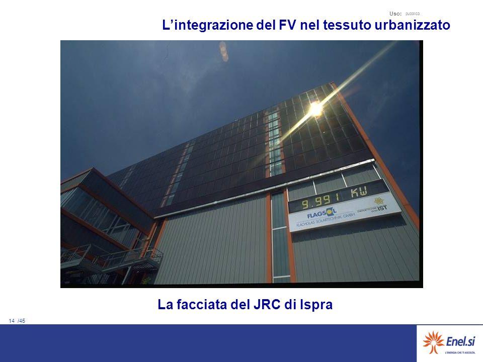 14 /45 Uso: pubblico La facciata del JRC di Ispra Lintegrazione del FV nel tessuto urbanizzato