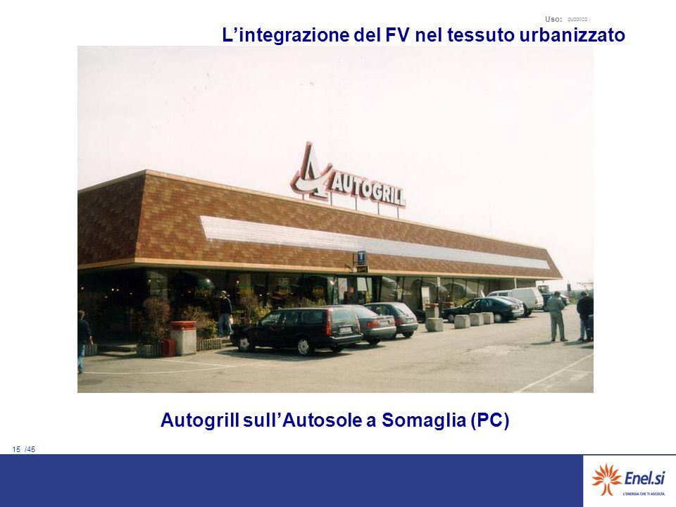 15 /45 Uso: pubblico Autogrill sullAutosole a Somaglia (PC) Lintegrazione del FV nel tessuto urbanizzato