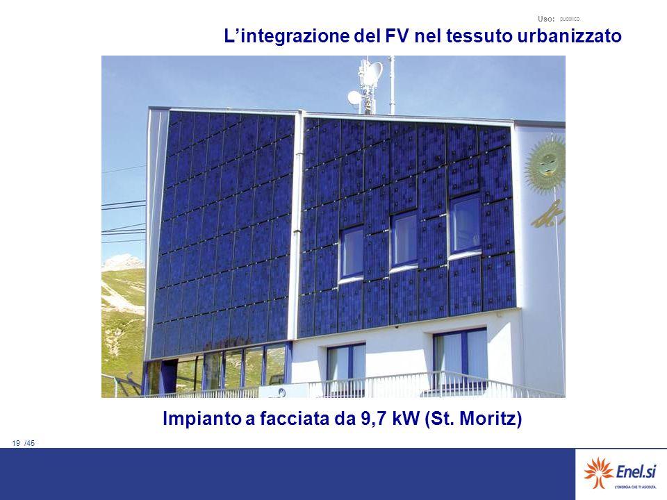 19 /45 Uso: pubblico Lintegrazione del FV nel tessuto urbanizzato Impianto a facciata da 9,7 kW (St. Moritz)