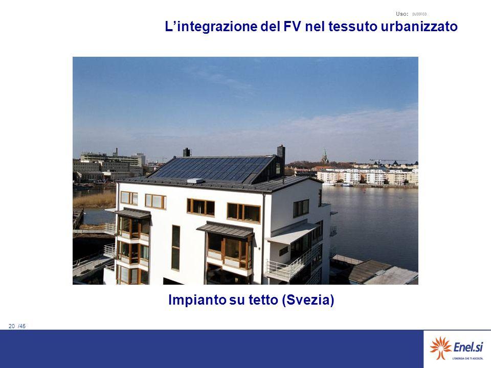 20 /45 Uso: pubblico Lintegrazione del FV nel tessuto urbanizzato Impianto su tetto (Svezia)